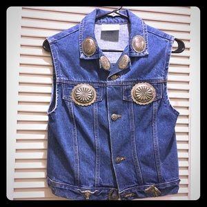 Vintage Western Concho Denim Jean Vest